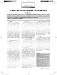 """""""互联网+""""环境下中职农村电子商务人才的培养模式探究"""