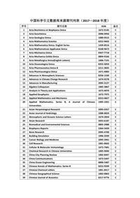中国科学引文数据库(CSCD)来源期刊列表(2017-2018)