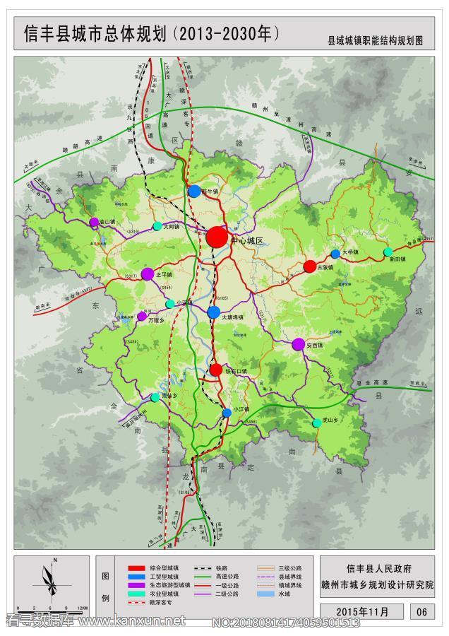 信丰县城市总体规划(2013-2030年) 县域城镇职能结构规划图